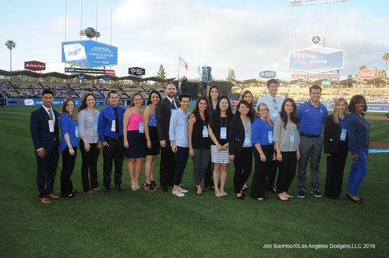 Los Angeles Dodgers Foundation honors Cal St. Northridge-2016 Roy & Roxie Campanella/Dodgers Scholarship recipients prior to game against Miami Marlins Wednesday, April 27, 2016 at Dodger Stadium.