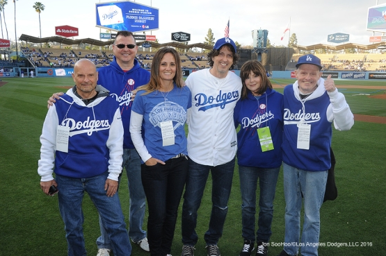 Mark Schwahn poses with family prior to game against Miami Marlins Wednesday, April 27, 2016 at Dodger Stadium.