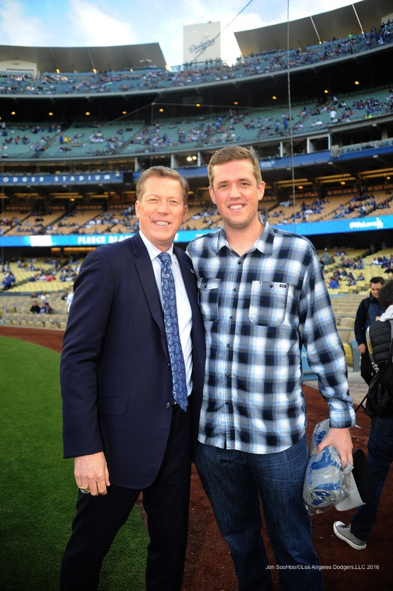 Orel Hershiser and son Jordan poses prior to game against Miami Marlins Wednesday, April 27, 2016 at Dodger Stadium.