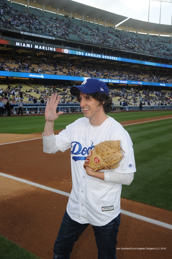 Mark Schwann waves to the crowd prior to game against Miami Marlins Wednesday, April 27, 2016 at Dodger Stadium.
