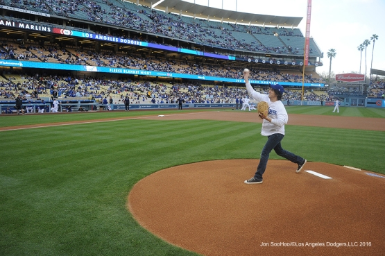 Mark Schwann throw out the first pitch prior to game against Miami Marlins Wednesday, April 27, 2016 at Dodger Stadium.