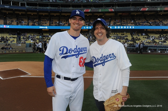 Mark Schwann poses with Ross Stripling prior to game against Miami Marlins Wednesday, April 27, 2016 at Dodger Stadium.