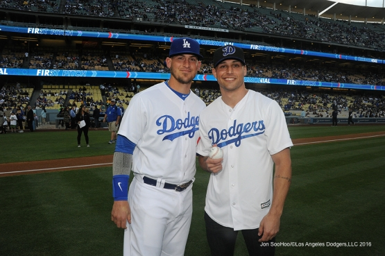 Mark Schwann poses with Yasmani Grandal pose prior to game against Miami Marlins Wednesday, April 27, 2016 at Dodger Stadium.