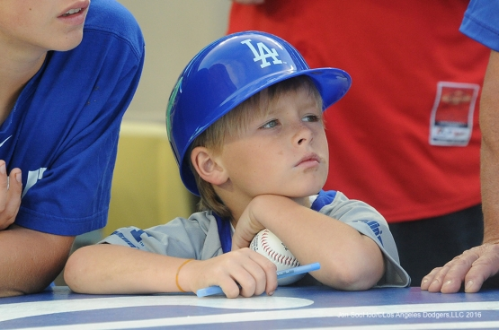Great Los Angeles Dodger fan prior to game against Miami Marlins Wednesday, April 27, 2016 at Dodger Stadium.