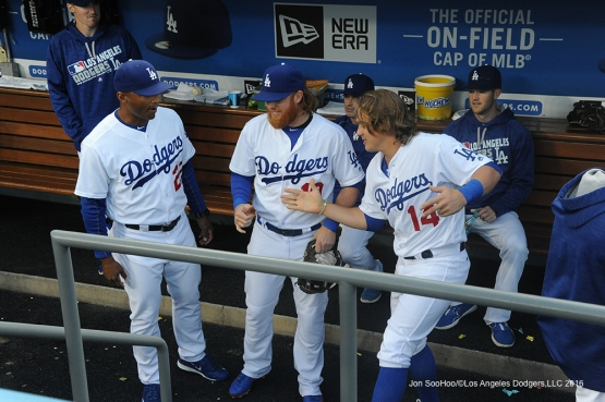 Los Angeles Dodgers prior to game against Miami Marlins Wednesday, April 27, 2016 at Dodger Stadium.
