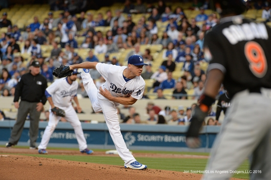 Los Angeles Dodgers Scott Kazamir pitches against Miami Marlins Wednesday, April 27, 2016 at Dodger Stadium.