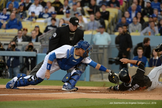 Los Angeles Dodgers A.J. Ellis during game against Miami Marlins Wednesday, April 27, 2016 at Dodger Stadium.