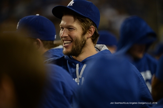 Los Angeles Dodgers Clayton Kershaw smiles during game against Miami Marlins Wednesday, April 27, 2016 at Dodger Stadium.
