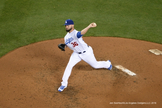 Los Angeles Dodgers Adam Liberatore pitches against Miami Marlins Wednesday, April 27, 2016 at Dodger Stadium.