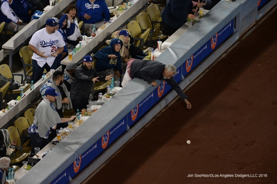 Los Angeles Dodgers fan with the play during game against Miami Marlins Wednesday, April 27, 2016 at Dodger Stadium.