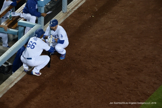 Los Angeles Dodgers Yasiel Puig and Adrian Gonzalez during game against Miami Marlins Wednesday, April 27, 2016 at Dodger Stadium.