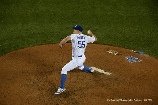 Los Angeles Dodgers Joe Blanton pitches against the Miami Marlins Wednesday, April 27, 2016 at Dodger Stadium.
