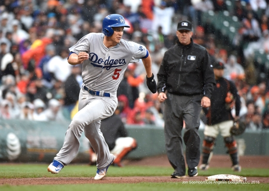 Los Angeles Dodgers Corey Seager scores go ahead run against the San Francisco Giants Saturday, April 9, 2016 at AT&T Park in San Francisco,California. The Dodgers beat the Giants 3-2.