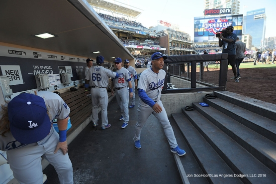 Los Angeles Dodgers Dave Roberts is introduced prior to game against the San Diego Padres Monday, April 4, 2016 at Petco Park in San Diego,California. The Dodgers beat the Padres 15-0
