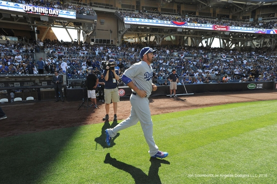 Los Angeles Dodgers Adrian Gonzalez is introduced prior to game against the San Diego Padres Monday, April 4, 2016 at Petco Park in San Diego,California. The Dodgers beat the Padres 15-0