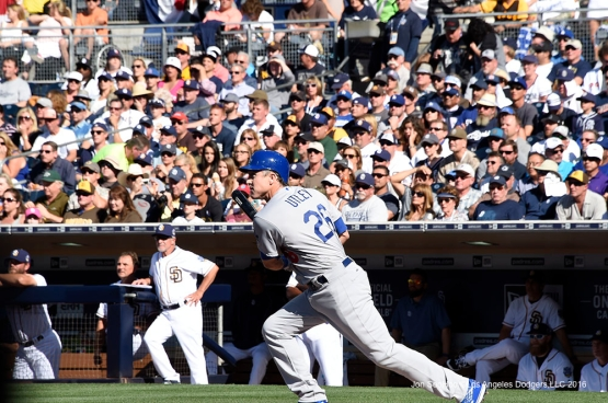 Los Angeles Dodgers Chase Utley starts off the game with a double during game against the San Diego Padres Monday, April 4, 2016 at Petco Park in San Diego,California. The Dodgers beat the Padres 15-0
