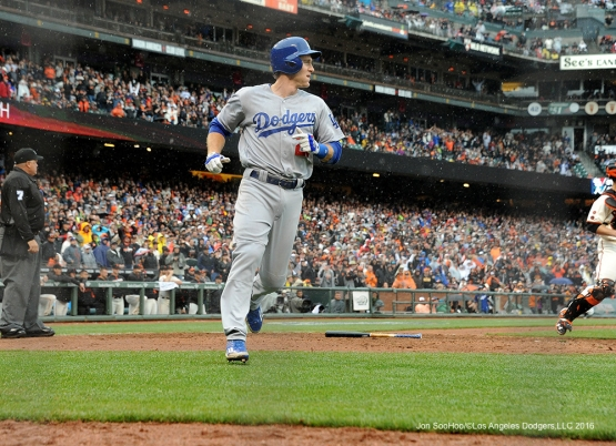 Los Angeles Dodgers Chase Utley scores during game against the San Francisco Giants Saturday, April 9, 2016 at AT&T Park in San Francisco,California. The Dodgers beat the Giants 3-2.