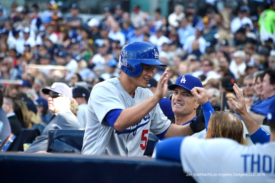 Los Angeles Dodgers Corey Seager after scoring during game against the San Diego Padres Monday, April 4, 2016 at Petco Park in San Diego,California. The Dodgers beat the Padres 15-0