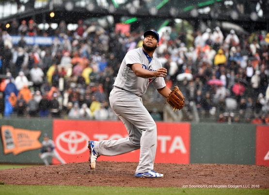 Los Angeles Dodgers Kenley Jansen pitches against the San Francisco Giants Saturday, April 9, 2016 at AT&T Park in San Francisco,California. The Dodgers beat the Giants 3-2.