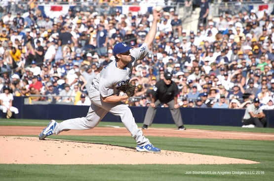 Los Angeles Dodgers Clayton Kershaw pitches during game against the San Diego Padres Monday, April 4, 2016 at Petco Park in San Diego,California. The Dodgers beat the Padres 15-0