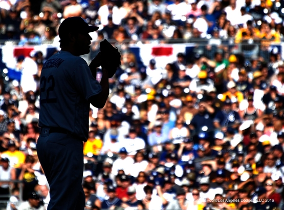 Los Angeles Dodgers Clayton Kershaw silhouette during game against the San Diego Padres Monday, April 4, 2016 at Petco Park in San Diego,California. The Dodgers beat the Padres 15-0