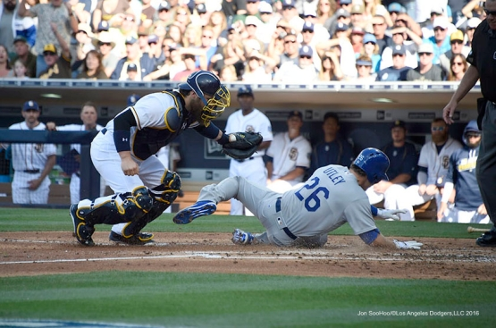 Los Angeles Dodgers Chase Utley is out at the plate during game against the San Diego Padres Monday, April 4, 2016 at Petco Park in San Diego,California. The Dodgers beat the Padres 15-0