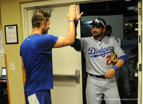 Los Angeles Dodgers Clayton Kershaw and Adrian Gonzalez high five after win against the San Francisco Giants Saturday, April 9, 2016 at AT&T Park in San Francisco,California. The Dodgers beat the Giants 3-2.