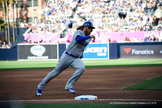 Los Angeles Dodgers Justin Turner scores during game against the San Diego Padres Monday, April 4, 2016 at Petco Park in San Diego,California. The Dodgers beat the Padres 15-0