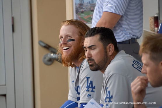 Los Angeles Dodgers Justin Turner and Adrian Gonzalez in the dugout during game against the San Diego Padres Monday, April 4, 2016 at Petco Park in San Diego,California. The Dodgers beat the Padres 15-0