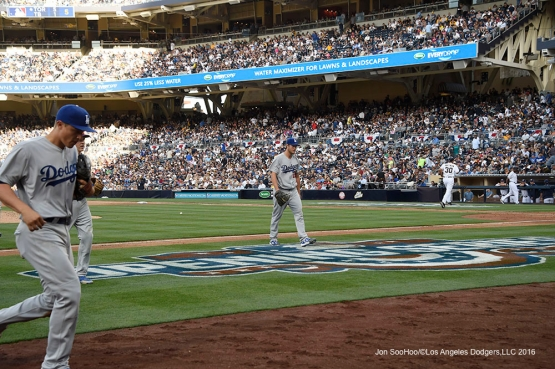 Los Angeles Dodgers Clayton Kershaw walks off the field during game against the San Diego Padres Monday, April 4, 2016 at Petco Park in San Diego,California. The Dodgers beat the Padres 15-0