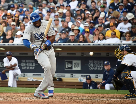 Los Angeles Dodgers Yasiel Puig is hit by pitch during game against the San Diego Padres Monday, April 4, 2016 at Petco Park in San Diego,California. The Dodgers beat the Padres 15-0