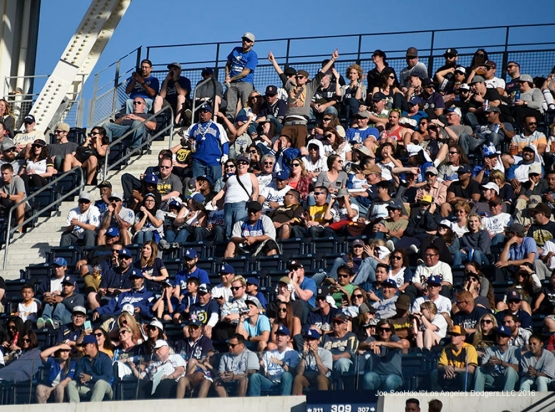 Great Los Angeles Dodger fans during game against the San Diego Padres Monday, April 4, 2016 at Petco Park in San Diego,California. The Dodgers beat the Padres 15-0