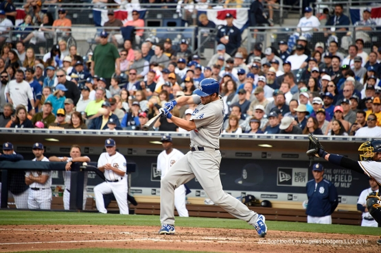 Los Angeles Dodgers Clayton Kershaw gets a hit during game against the San Diego Padres Monday, April 4, 2016 at Petco Park in San Diego,California. The Dodgers beat the Padres 15-0