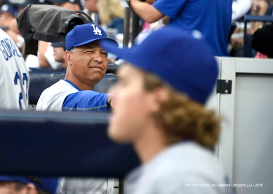 Los Angeles Dodgers Dave Roberts (Doc) during game against the San Diego Padres Monday, April 4, 2016 at Petco Park in San Diego,California. The Dodgers beat the Padres 15-0