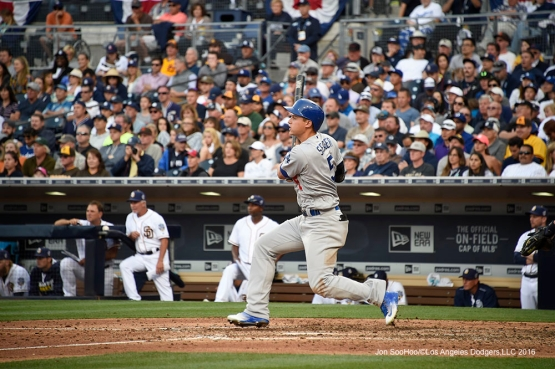 Los Angeles Dodgers Corey Seager with a hit during game against the San Diego Padres Monday, April 4, 2016 at Petco Park in San Diego,California. The Dodgers beat the Padres 15-0