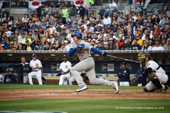 Los Angeles Dodgers Trayce Thompson gets a hit during game against the San Diego Padres Monday, April 4, 2016 at Petco Park in San Diego,California. The Dodgers beat the Padres 15-0