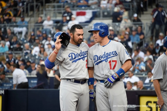 Los Angeles Dodgers Adrian Gonzalez and A.J.Ellis during game against the San Diego Padres Monday, April 4, 2016 at Petco Park in San Diego,California. The Dodgers beat the Padres 15-0