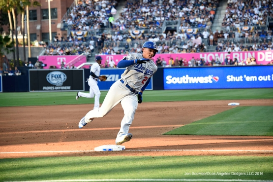 Los Angeles Dodgers Trayce Thompson scores during game against the San Diego Padres Monday, April 4, 2016 at Petco Park in San Diego,California. The Dodgers beat the Padres 15-0