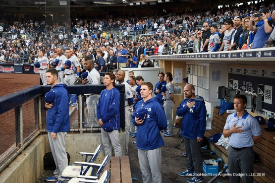 Los Angeles Dodgers stand for God Bless America during game against the San Diego Padres Monday, April 4, 2016 at Petco Park in San Diego,California. The Dodgers beat the Padres 15-0