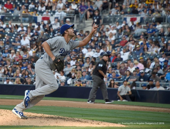 Los Angeles Dodgers Clayton Kershaw during game against the San Diego Padres Monday, April 4, 2016 at Petco Park in San Diego,California. The Dodgers beat the Padres 15-0