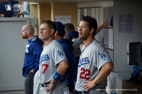Los Angeles Dodgers A.J. Ellis and Clayton Kershaw during game against the San Diego Padres Monday, April 4, 2016 at Petco Park in San Diego,California. The Dodgers beat the Padres 15-0