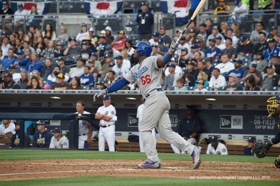 Los Angeles Dodgers Yasiel Puig triples during game against the San Diego Padres Monday, April 4, 2016 at Petco Park in San Diego,California. The Dodgers beat the Padres 15-0