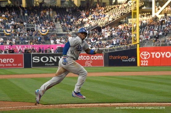 Los Angeles Dodgers Yasiel Puig scores from third during game against the San Diego Padres Monday, April 4, 2016 at Petco Park in San Diego,California. The Dodgers beat the Padres 15-0