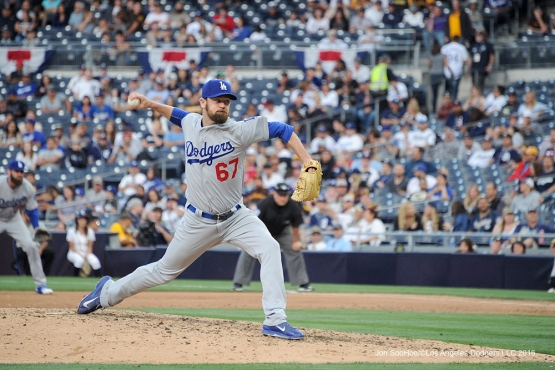 Los Angeles Dodgers Louis Coleman pitches during game against the San Diego Padres Monday, April 4, 2016 at Petco Park in San Diego,California. The Dodgers beat the Padres 15-0