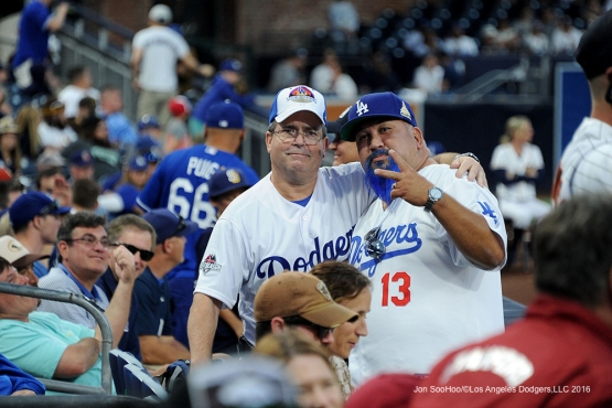 Great Los Angeles Dodgers fans during game against the San Diego Padres Monday, April 4, 2016 at Petco Park in San Diego,California. The Dodgers beat the Padres 15-0