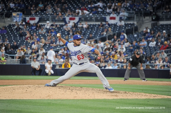 Los Angeles Dodgers Yimi Garcia in the ninth during game against the San Diego Padres Monday, April 4, 2016 at Petco Park in San Diego,California. The Dodgers beat the Padres 15-0
