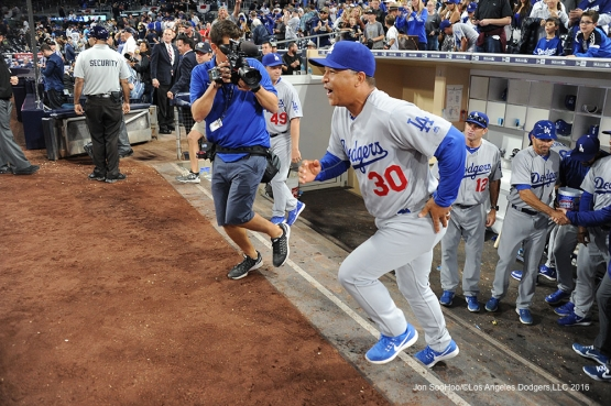 Los Angeles Dodgers Dave Roberts get his first win as the Dodgers manager after game against the San Diego Padres Monday, April 4, 2016 at Petco Park in San Diego,California. The Dodgers beat the Padres 15-0