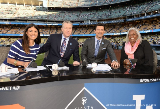 The LA SportsNet crew poses with Sharon Robinson prior to pre-game. Jill Weisleder/Dodgers