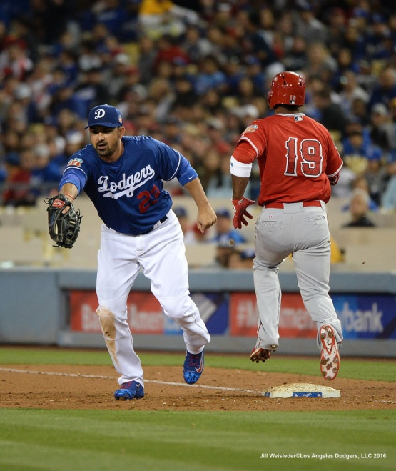 Adrian Gonzalez gets the out at first base. Jill Weisleder/LA Dodgers