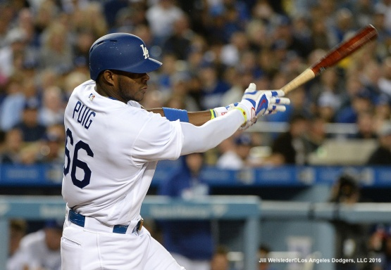 Yasiel Puig connects for single in the seventh inning. Jill Weisleder/Dodgers